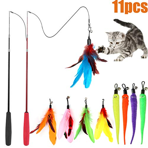 MeoHui 11PCS Retractable Cat Feather Toy Set, Interactive Cat Toys Wand with 2...