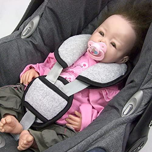 Bambiniwelt - Juego de 3 piezas para silla de bebé (acolchado para cinturón y entrepierna), universal, para portabebés grupo 0, por ejemplo Maxi-Cosi, Römer FROTTEE (tejido de rizo gris claro)