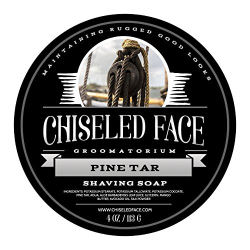 Pine Tar Handmade Luxury Shaving Soap by Chiseled Face — Rich, Thick Lather — Smooth, Comfortable Shaves — Tallow-Based Soap — Made in The USA