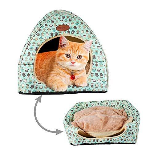Wzmdd Cat Bed House Dome huisdier Igloo, 2 in 1 opvouwbare piramide huisdier bed hond kat mand tent, zacht Comfy warm fleece kat bed grot nest hut voor kleine middelgrote grote kat hond puppy kitten, XL, 3