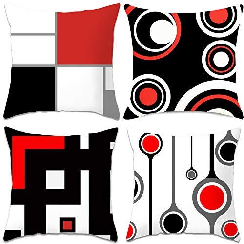 cuscini per divano moderni Gudotra 4 Pezzi Federe Cuscini Divano 45x45cm Copricuscini Divano Beige Rosso Nero Federe Cuscini Decorativo in Lino per Cuscino Caso