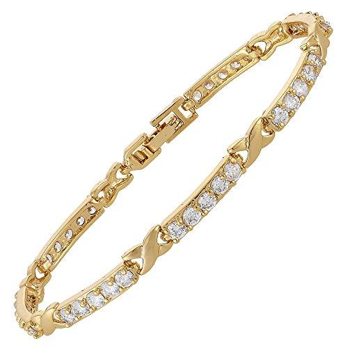 RIVA XOXO Verknüpfung Tennis Armband [18cm/7inch] mit Rundschliff Edelstein Zirkonia CZ [Weiß Topas] in 18K Gelbgold Vergoldet, Einfache Moderne Eleganz