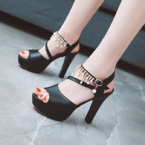 YMFIE Mode Sexy Perle Sandales à Talons Hauts Mesdames été Poisson Bouche Chaussures Talons Hauts
