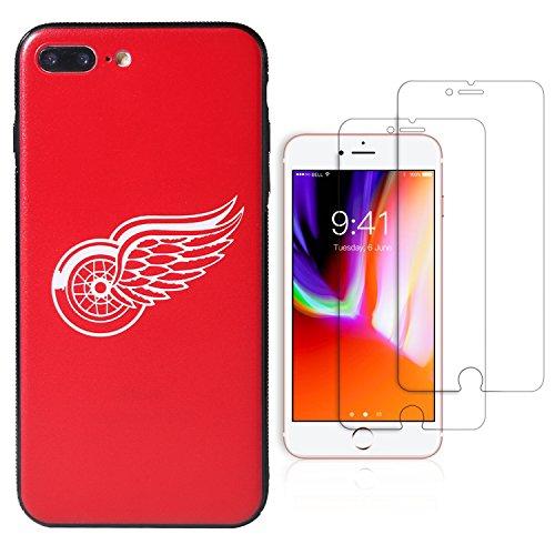 Die Masse iPhone 7/8Plus Case & Skins, natioanl Hockey League Teams Design Phone Cover, Die 2gehärtetem Glas Displayschutzfolie Extra Value Set, Detroit Red Wings