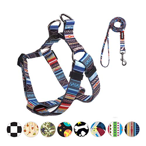 QQPETS Colorful Eacape Proof Dog Harness and Leash Set No-Pull Dog Harness for Small Puppy Breed Girl Boy Strong Nylon Adjustable Chest:14-20
