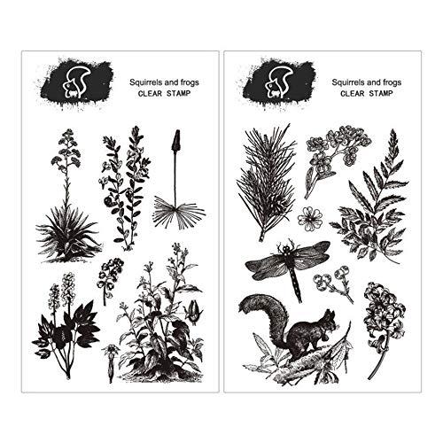 Tic-Tac Tampons 2PC Stamps for Scrapbooking DIY Décor Rétro Fleurs (D-03)