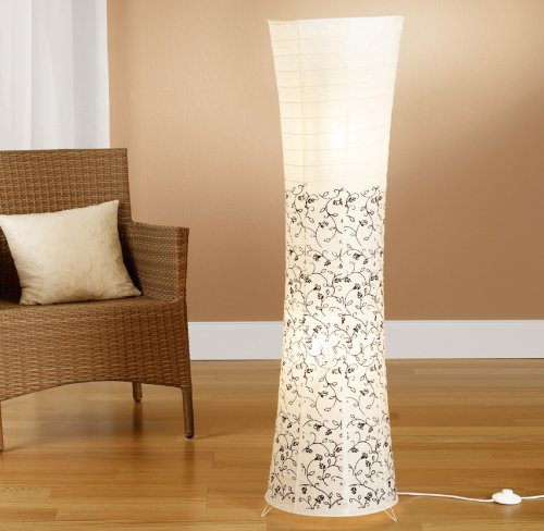Trango TG1240 Modern Design Reispapier Stehlampe *KOS* Reispapierlampe in Weiß Rund mit floralem Motive Stehleuchte 125cm Hoch, Wohnzimmer Deko Lampe, Stehlampe mit Lampenschirm
