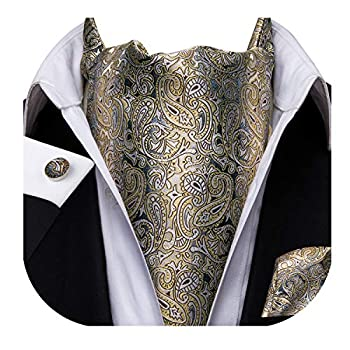 Dubulle Black and Yellow Paisely Mens Formal Cravat Ascot Scarf Tie and Pocket Square Set