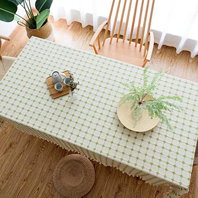 CHAIZIYU Manteles Moderno Minimalista Bordado Enrejado Mantel algodón Lino hogar Tela Rectangular tapete de Mesa,E,140  180CM
