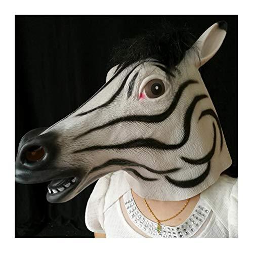 HATHOR-23 Novedad Halloween, Halloween Mascaras, Látex Animal Careta De Halloween, Partido Máscara, Paseo Actuación Disfraz Partido, Adecuado para Adultos Caballo (Size : Zebra)
