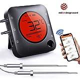 BFOUR Grille Bluetooth Therometer Bratenthermometer mit Zeitmesser, 4 Temperaturfühlern Sonden...