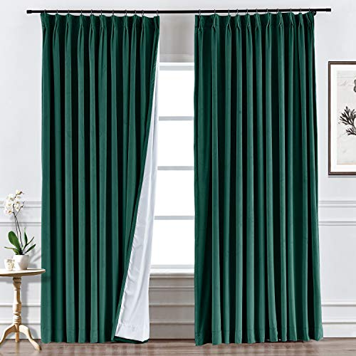 ChadMade Custom Velvet Curtain Drapery, for Traverse Rod and Rod, Living Room Curtain Home Theater Curtain, Room Divider, Blackout Thermal Room Darkening Unlined Curtain, Birkin Collection
