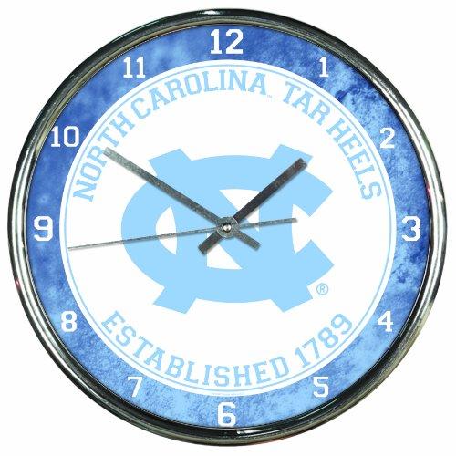 NCAA North Carolina Tar Heels Chrome Clock, 12