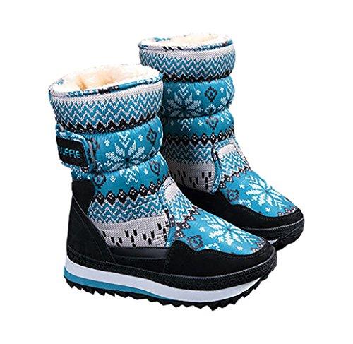 Shmily Girl Damen Schneestiefel Winterstiefel Winter Schuhe mit Warmfutter Fuer Mutter und Kind (EU 28, Blau)
