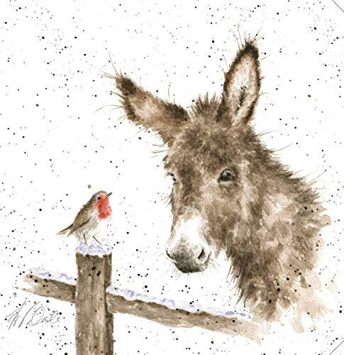 Wrendale Designs Festlicher Druck auf weißer, quadratischer Leinwand, 20 cm, Esel und Rotkehlchen