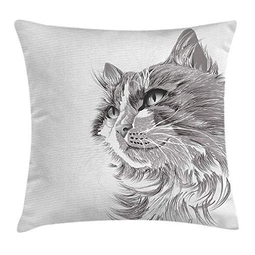 Ahdyr Funda de cojín de Almohada de Tiro de Animal, Retrato de Cabeza de Gato Peluda Linda Cabeza Gatito doméstico Miau Dibujo ilustración de Mascota, Funda de Almohada Decorativa Cuadrada Decorativa