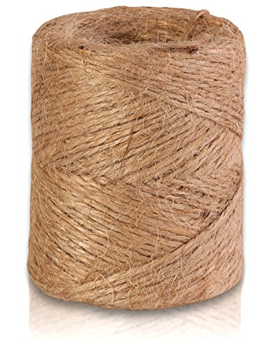 Natural Jute Twine 300-Feet, Best Arts & Crafts Gift, Durable String For Gardening Applications, Heavy Duty For Industrial Packing Materials, 3-Ply.