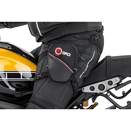 QBag Motorradtasche Motorrad Tasche/Hülle/Etui Beintasche, Gürteltasche, Hecktasche, Tankrucksack, universell einsetzbare kleine Tasche, inkl. wasserdichte Innentasche, Schwarz, Stauraum 1 Liter
