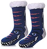 Kids Warm Slipper Socks Boys Girls Cozy Soft Thick Winter Indoor Non Skid Christmas Socks (Dinosaur Dark Blue, 4-7 Years)