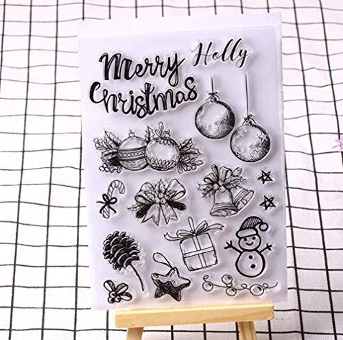 Uteruik Siliconen Stempel Seal Sticker Clear Stamps Kerst Patroon Ingedrukt Sneeuwman Sjabloon DIY Craft Scrapbooking Fotoalbum Decoratie, 1 stks (#A)