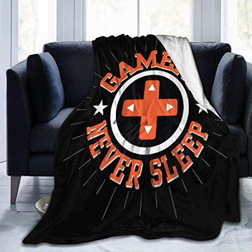 ujmki Throw Gamers Never Sleep Manta de forro polar cómoda...