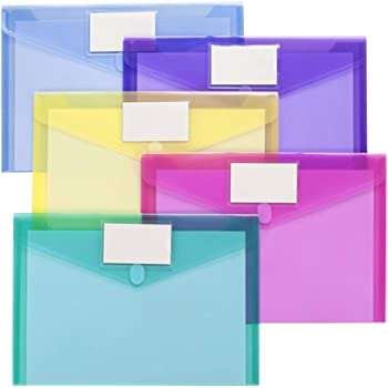 10 Pack Plastic Envelopes Poly Envelopes, Sooez Clear Document Folders US Letter A4 Size File Envelopes with Label Pocket, Assorted Color