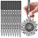 Black Micro-Pen Fineliner Ink Pens, Set of 9 Various Size Tip, Drawing Pens, Precision Micro-Line Pens, Illustration Pens, Multiliner, for Art Watercolor, Sketching, Anime, Manga, Scrapbooking