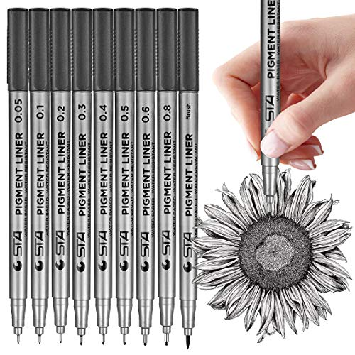 MISULOVE Micro-Pen Fineliner Ink Pens, Precision Multiliner Pens for Artist Illustration, Sketching, Technical Drawing, Manga, Scrapbooking(9 Size/Black)