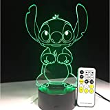 3d Led Optical Illusion Lamp Bedroom Stitch Table Night Light Acrylic Panel Usb Cable 7 Colors Change Base Lamp Kids Gift Wholesale