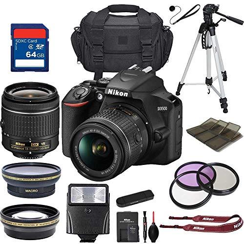 NikonD3500 DSLR Camera w/AF-P DX NIKKOR 18-55mm f/3.5-5.6G VR Lens + 64 GB Memory Card and Professional Accessory Bundle