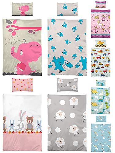 BaSaTex Kinder Bettwäsche, Babybettwäsche 100x135 cm + 40x60 cm 100% Microfaser für Jungen und Mädchen in verschiedenen Designs Elefant Rosa