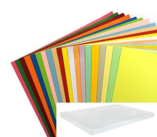 Dalton Manor - Surtido de cartulinas de color en caja de almacenamiento, tamaño A4, 20 colores, 100 unidades Cartulina para álbum de recortes.
