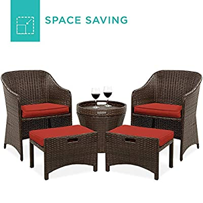 Best Choice Products 5-Piece Outdoor Wicker Patio Bistro Furniture Set w/Storage Table, No Assembly - Red