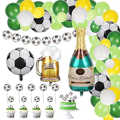 LOPOTIN 56PCS Decoración Fiesta Futbol Globos Football, Cupcakes Adorno Baby Shower Niño Bautizo Bebé Cumpleaños Suministros Guirnalda Aniversario Partido Fanático Champán Cerveza Colores Surtidos.