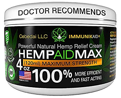 Premium Hemp Cream for Pain Relief - 4oz Pure Hemp Oil Extract - Made in USA - Extra Strength Natural Massage Lotion for Joint, Muscle, Knee, Back, Neck Inflammation - Topical Salve Balm from Cebedai LLC