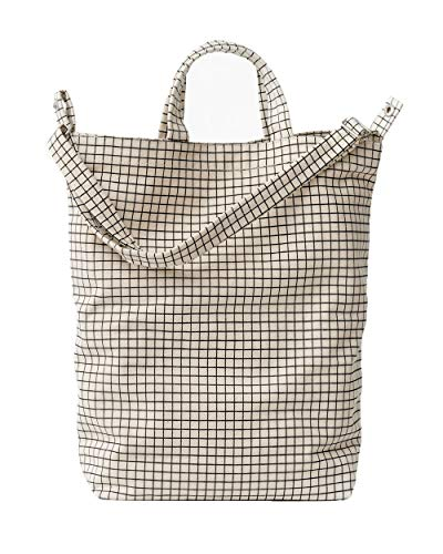 BAGGU Duck Bag Canvas Tote, Essential Everyday Tote, Spacious and Roomy, Natural Grid (2018)