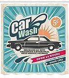 Cortina de ducha vintage con imagen de póster de reparación de coche
