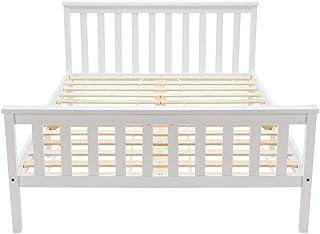Soayone Lit double en bois 135 x 190 cm, lit en bois massif avec sommier à lattes, lit en pin pour adultes, enfants, adole...