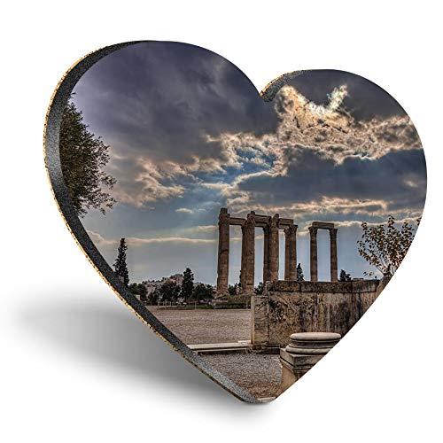 Posavasos de MDF con corazón - Templo de Zeus Olímpico Atenas Grecia | Posavasos de calidad brillante | Protección de mesa para cualquier tipo de mesa #16508