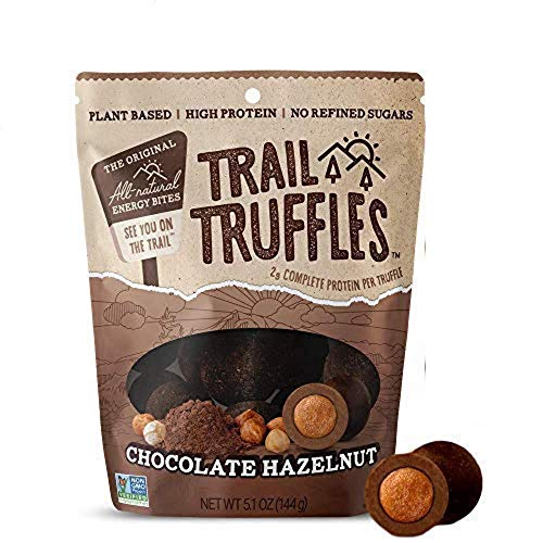 TRAIL TRUFFLES – Dark Chocolate Nut-Butter Filled Protein Bites – Healthy, Plant Based, Gluten Free, Dairy Free, Soy Free, Non-GMO Snacks (Chocolate Hazelnut, 1 Pack)