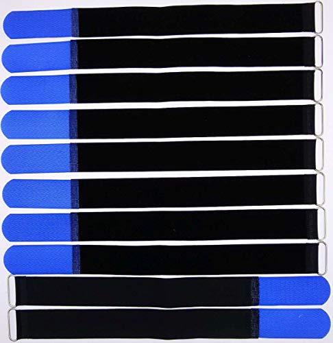10x 40 cm x 40 mm wiederverschließbare Klett-Kabelbinder BLAU mit Metall-Öse - Kabel-Klettband 400 mm wiederverwendbar