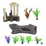 JIN JIN Aquarium Decorations, Fish Tank Accessories, Fish Tank Plants for Home and Office Fish Tank Decoration10(PCS