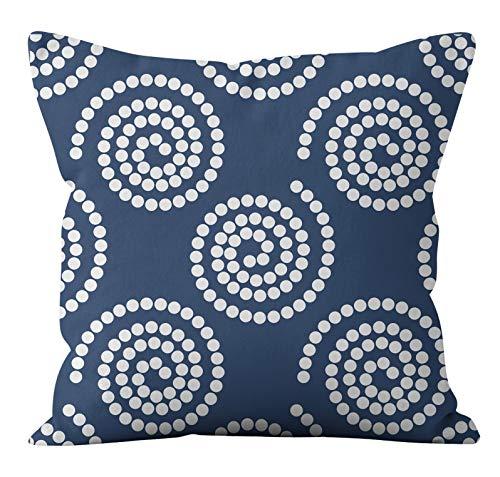 PPMP Funda de cojín de Flora Retro Azul Verde Lino geométrico sofá Funda de Almohada Dormitorio decoración del hogar Funda de cojín A7 45x45cm 1pc