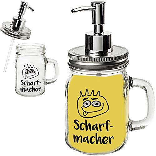 alles-meine.de GmbH Senf & Ketchup - Spender mit Pumpe _ Scharf-Macher _ 420 ml - für Sauce / Saucenspender - Senfglas groß - Flasche Ketschupspender Pumpspender mit Henkel - Gas..
