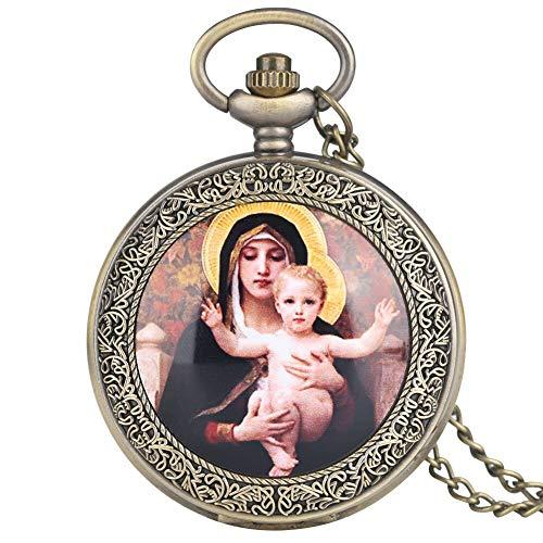 Reloj de Bolsillo analógico de Cuarzo con diseño de Virgen María y Jesús de la Caja de Bronce para Mujeres Relojes de Bolsillo Grandes de Moda para Hombres Regalo
