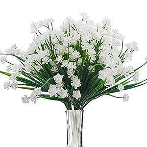 BOMAROLAN Artificial Greenery Daffodils Fake Shrubs Flowers 8 Bundles UV Resistant Hanging Planter Flora Fence Indoor Outside Decor Cemetery Decor(White)