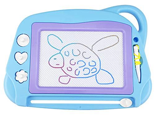 Pizarra Magnética Infantil, Tamano de Viaje Almohadilla Borrable de Escritura y Dibujo Colorido Magnético Tableta de Dibujo Juguetes educativos para niños 3 4 5 años-Azul