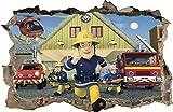 WANDAUFKLEBER Loch in der Wand 3D Feuerwehrmann FIRAMAN SAM Wandtattoo 47 (XL - 100 x 65 cm)