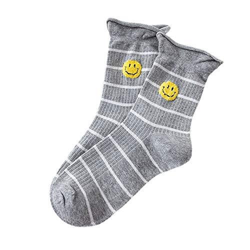 ZZBO Frauen Sportlaufsocken Gestreifte Crew Socken Einfarbig Ankle Socks Tennissocken Smiling-Gesicht Muster Kuschel Socken Trendige Einheitsgröße Lässig Bequem und Atmungsaktiv