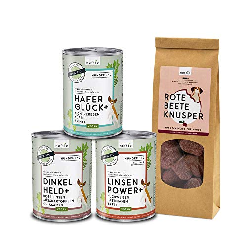 naftie veganes Hundefutter Bio Veggie Box klein | 3 Hundenassfutter Sorten Plus vegane Hundeleckerli | für Hunde mit einem Herz für Tiere